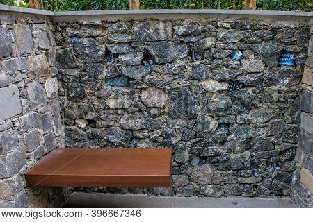 Monterosso Al Mare, Italy - July 8, 2017: View Of A Sitting Bench In Monterosso Al Mare On A Summer