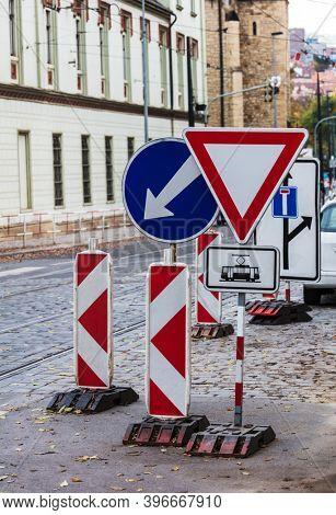 road repair in a modern city