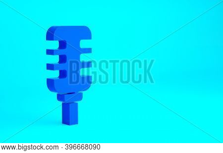 Blue Microphone Icon Isolated On Blue Background. On Air Radio Mic Microphone. Speaker Sign. Minimal