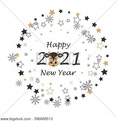 Happy New 2021 Year. Year Of Ox. Holiday Vector Illustration With Lettering Composition, Stars, Snow
