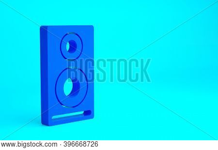 Blue Stereo Speaker Icon Isolated On Blue Background. Sound System Speakers. Music Icon. Musical Col