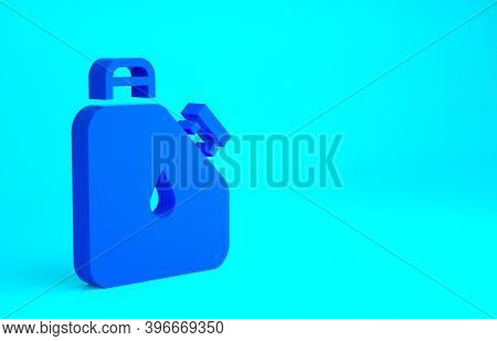 Blue Canister For Flammable Liquids Icon Isolated On Blue Background. Oil Or Biofuel, Explosive Chem