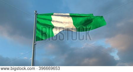 3d Rendering Of The National Flag Of The Nigeria