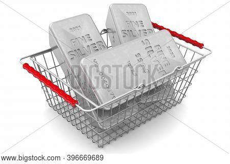 Buying Silver Ingots. Three Ingots Of 999.9 Fine Silver Lie In A Grocery Basket. 3d Illustration