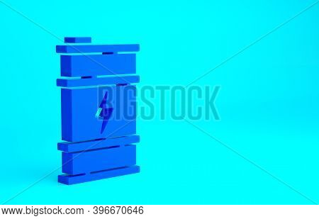 Blue Bio Fuel Barrel Icon Isolated On Blue Background. Eco Bio And Canister. Green Environment And R