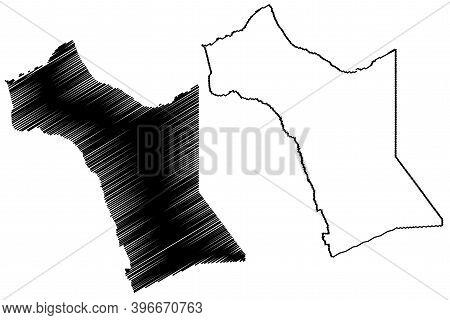 Garissa County (republic Of Kenya, North Eastern Province) Map Vector Illustration, Scribble Sketch