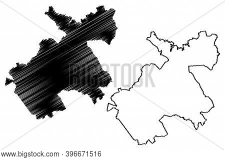 Machakos County (republic Of Kenya, Eastern Province) Map Vector Illustration, Scribble Sketch Macha