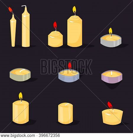 Candles In A Flat Style. Cartoon Burning Candles With Candle Holder And Fire Wax Flame Bright Decora