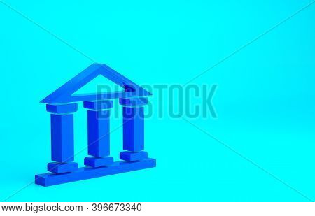 Blue Courthouse Building Icon Isolated On Blue Background. Building Bank Or Museum. Minimalism Conce