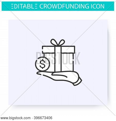 Reward Based Crowdfunding Line Icon. Donations In Return For Reward.funding And Investment Concept.