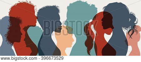 Group Of Confident Multiethnic Men And Women People. Group Of Multicultural Side Silhouette Person E