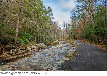 A Stream With Exposed Bedrock In Lake Minnewaska State Park In Ulster County New York.