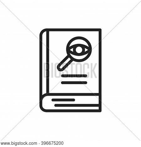 Detective Book Black Line Icon. Vector Illustration