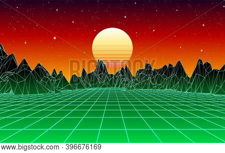 Neon Grid Mountain Landscape And Yellow Sun With Old 80s Arcade Game Style For New Retro Wave Party
