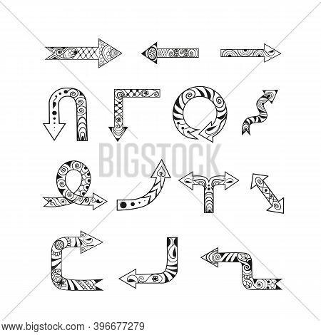 Nice Hand-drawn Decorative Ethnic Mehendi Style Arrows. Set Of Black Ornate Vector Elements Isolated
