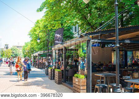 SOFIA, BULGARIA - 24 May 2018: Vitosha Boulevard in Sofia, Bulgaria