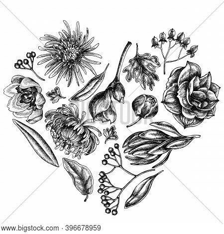 Heart Floral Design With Black And White Viburnum, Hypericum, Tulip, Aster, Leucadendron, Amaryllis