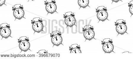 Grey Vintage Alarm Clock Shows 12 Oclock Isolated On White Background. Wake Up And Hurry Up. Hot Sal