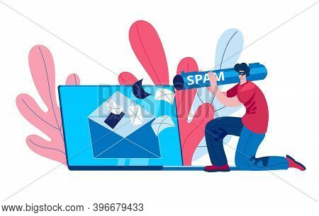 A Hacker Spams A Mail Server On A Laptop. Concept Of A Vector Illustration On The Topic Of Spam And