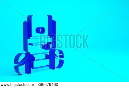 Blue Hiking Backpack Icon Isolated On Blue Background. Camping And Mountain Exploring Backpack. Mini