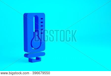 Blue Meteorology Thermometer Measuring Heat And Cold Icon Isolated On Blue Background. Thermometer E