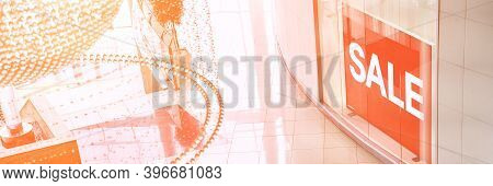 Sale Red Sign At Mall. Discount Concept. Market Interior Design. Selling Business Model. Lifestyle P