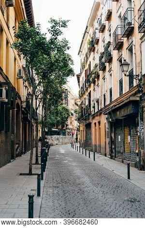 Madrid, Spain - 4th October, 2020: Traditional Street In Embajadores Area In Lavapies Quarter In Cen