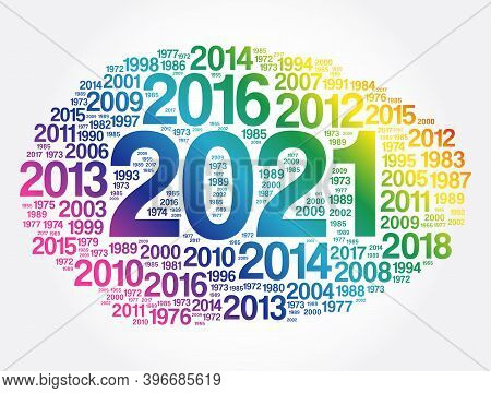 2021 New Year And Previous Years Word Cloud Collage, Concept Background