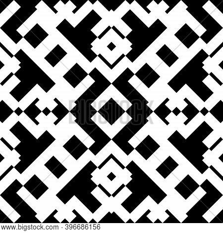 Seamless Pattern. Figures Ornament. Folk Wallpaper. Forms Backdrop. Embroidery Background. Tribal Mo