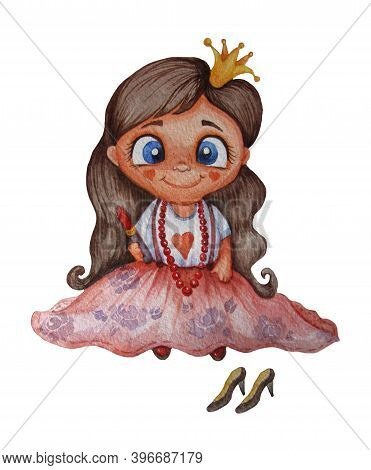 Kids Illustration. A Cute Little Princess Is A Fashionista Girl In A Long Skirt And With Lipstick In