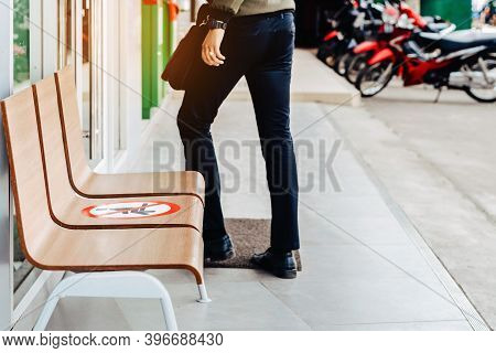 Alternative Seating Mark For Social Distance Rules In Front Of The Bank Distance For One Seat From O