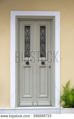 Wooden Entrance Door  In Old Town Of Plaka, Athens Greece