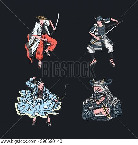 Japanese Samurai Set. Warriors With Weapons Sketch. Men In A Fight Pose. Hand Drawn Vintage Sketches
