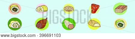 Set Of Meat Product. Cartoon Icon Design Template With Various Models. Modern Vector Illustration Is