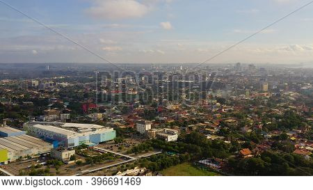 Aerial View Of Davao City, The Capital Of Mindanao Island. Davao Del Sur, Philippines.