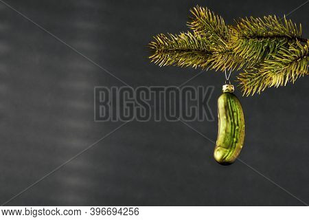An image of a typical Christmas gherkin decoration