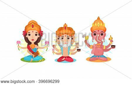 Indian Deity As Gods And Goddesses In Hinduism Vector Set