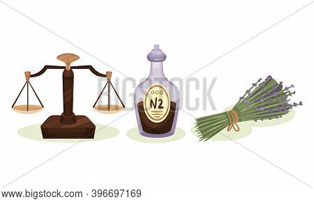 Mixture In Glass Vial And Lavender Branches As Medicine Vector Set