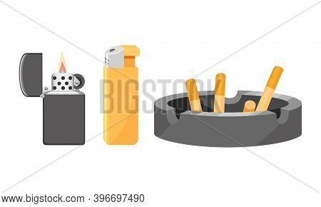 Cigar Lighter And Ashtray With Cigarette Stub Vector Set