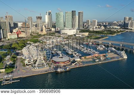 Miami, Florida - November 26, 2020 - Aerial View Of Bayside Marketplace, City Of Miami Marina And Mi