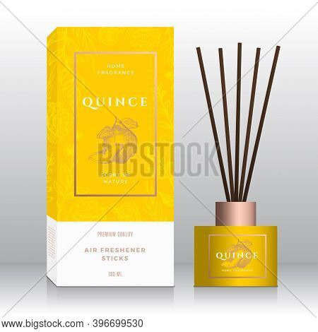 Quince Home Fragrance Sticks Abstract Vector Label Box Template. Hand Drawn Sketch Flowers, Leaves B