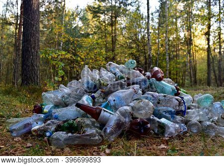 Pile Of Waste Plastic Bottles, Aluminium Can From Drinking And Paper Coffee Cup In Forest. Plastic B
