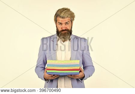 Hipster Stylish Creative Director. Printing Documents. Man Carry Many Colorful Handouts. Presentatio