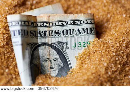 Dollar Money In Sugar. Sugar Export Prices, Economic Concept. Decrease Or Increase In Price Of Cane