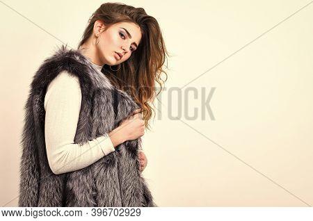 Winter Fashionable Wardrobe. Silver Fur Vest Fashion Clothing. Boutique Selling Fur. Girl Makeup Fac