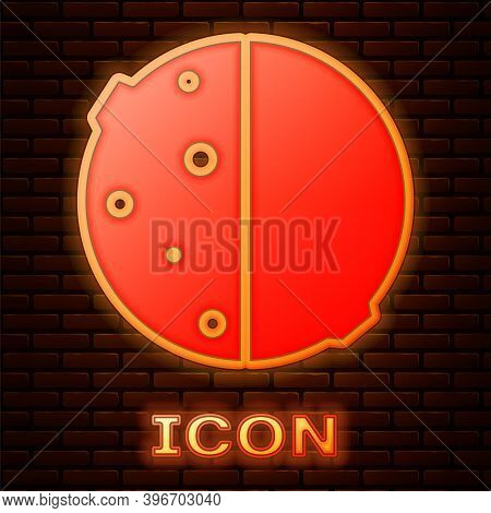 Glowing Neon Eclipse Of The Sun Icon Isolated On Brick Wall Background. Total Sonar Eclipse. Vector