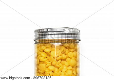 Wax Beans For Hair Removal, Isolated. Pearl Wax For Depilation Woman Legs Or Bikini Areas. Allergen