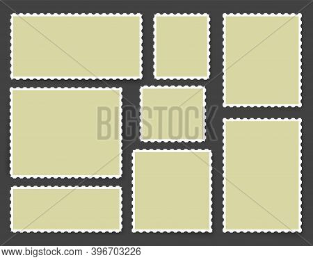 Blank Postage Stamp. Vector Post Mail Label. Square Rectangle Postmark. Vintage Empty Template