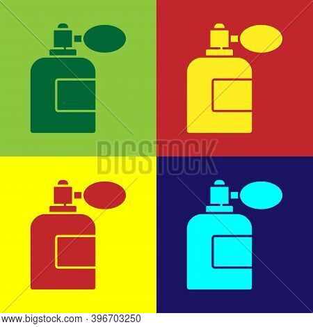 Pop Art Aftershave Bottle With Atomizer Icon Isolated On Color Background. Cologne Spray Icon. Male