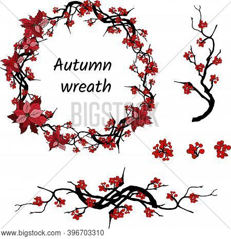 Oriental Set Of Branches And Red Flowers On A White Background. Vector Illustration Of Plum, Corallo